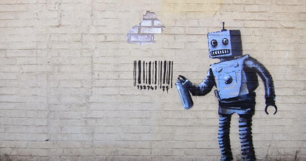Banksy robot and barcode graffiti in New York, USA.