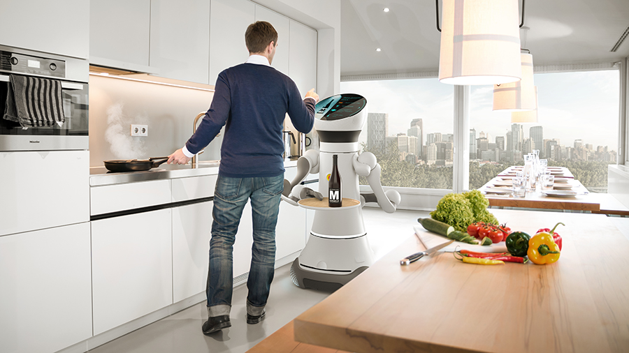 Care-O-bot 4 providing assistance in the kitchen. Image: Phoenix Design 2015
