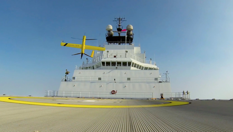 The Aerovel Flexrotor helped guide ships through in the Arctic ice. Credit: Jake Weber, Precision Integrated