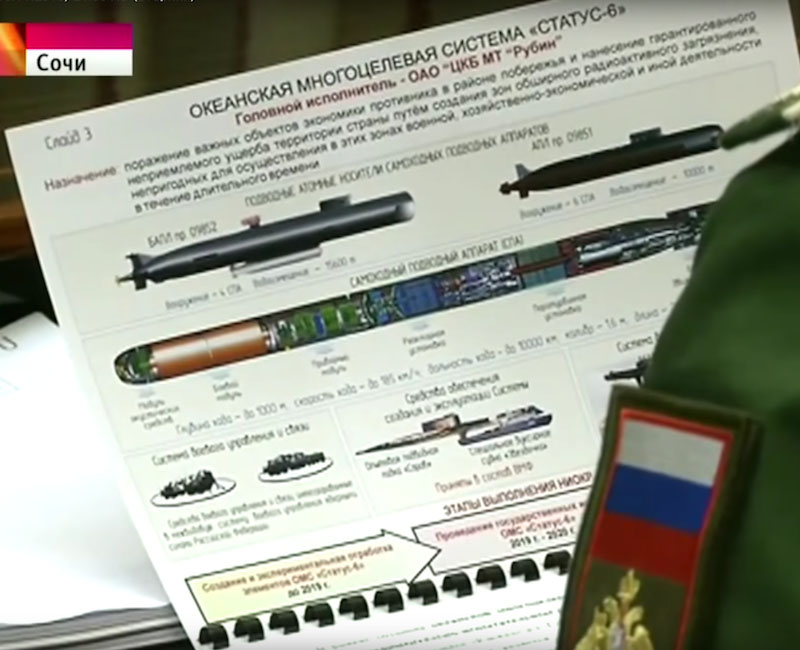 The Russian slide showing a concept for a nuclear-armed UUV.