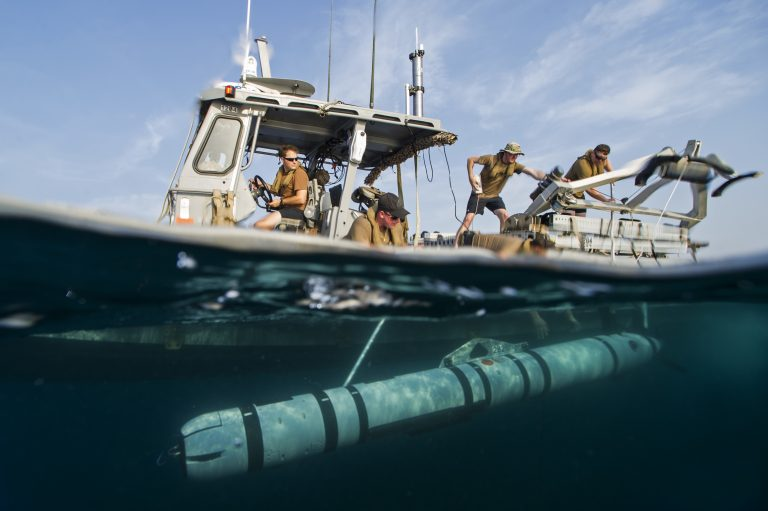 US Navy personnel launch an MK18 MOD2 UUV in August 2016. Credit: Mass Communication Specialist 1st Class Blake Midnight/ USN