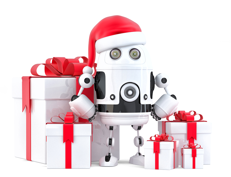 Robot Santa with gift boxes