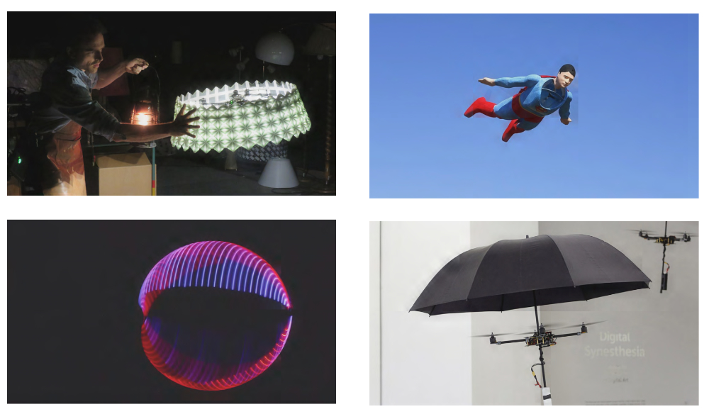 Examples of drone costumes (starting top left): Verity Studios, SPARKED; Otto Dieffenbach, Superman Drone; Ctrl.me, Performance Drones; Alan Kwan, Flying Umbrellas.
