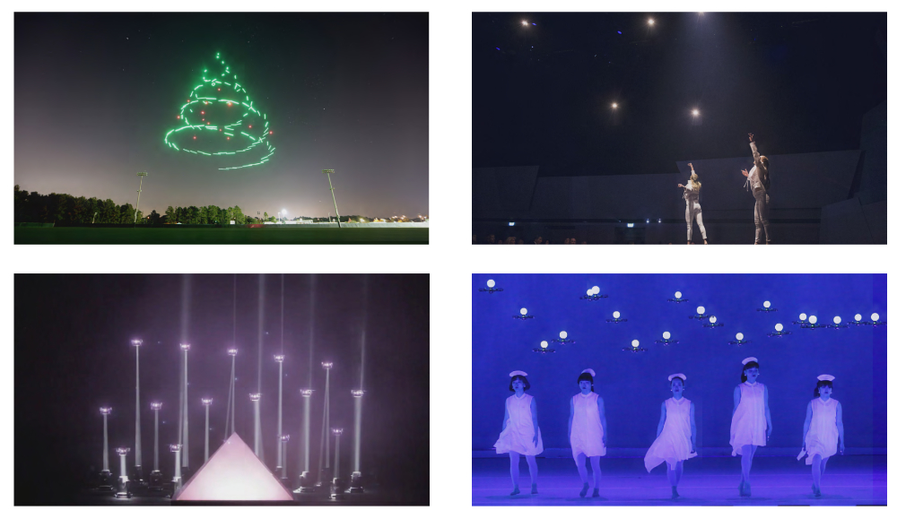 Examples of live drone performances (starting top left): Starbright Holiday Drone Show (Intel-Disney), ABB's 125th Anniversary Celebration (Verity Studios), Meet Your Creator (Saatchi & Saatchi/KMel Robotics (acquired by Qualcomm), Dance with drones on America's Got Talent (Elevenplay).