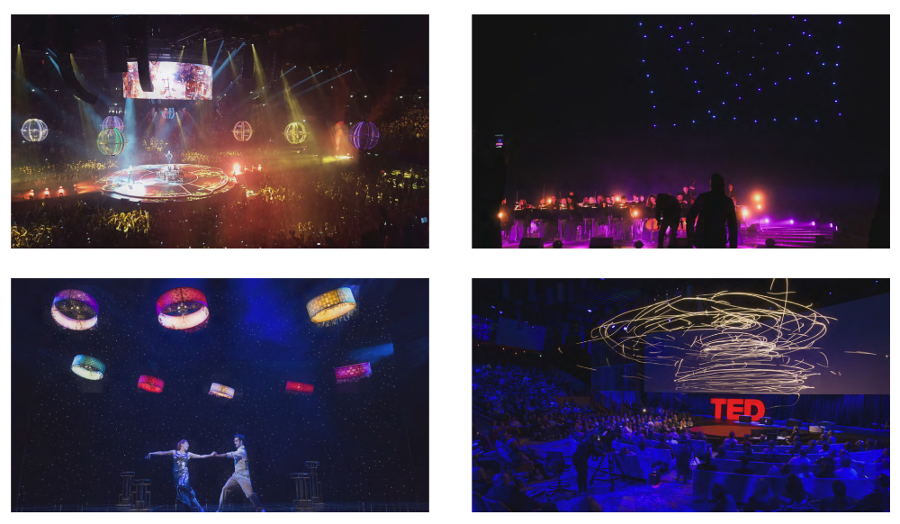 Further examples of live drone performances (starting top left): Muse Drone Tour, Ars Electronica's Spaxels, Verity Studios' drones in Cirque du Soleil's Paramour on Broadway, Raffaello D'Andrea & Verity Studios' show at TED 2016.