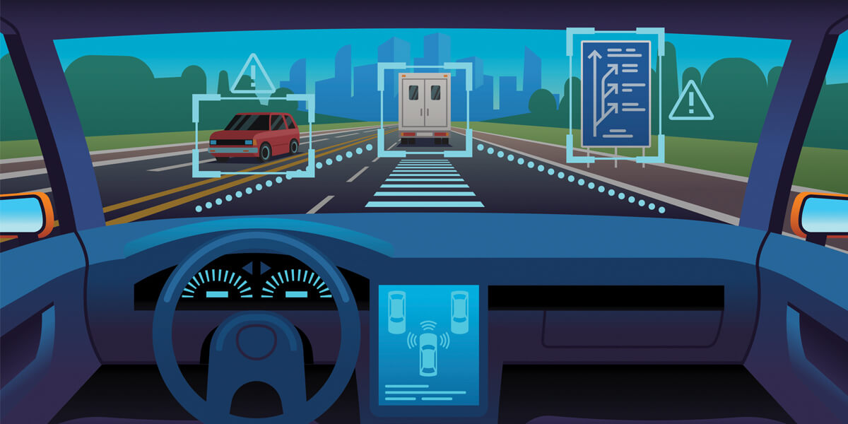Autonomous car identifying objects on the road