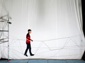 Watch flying machines weave a rope bridge you can walk on