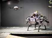Air and ground robot collaborate to map and safely navigate unknown, changing terrain